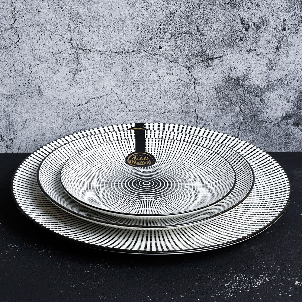 Scattered Lines - 6 inch Dessert Plate / 8 inch Rice Plate / 10.5 inch Dinner Plate - Table Matters