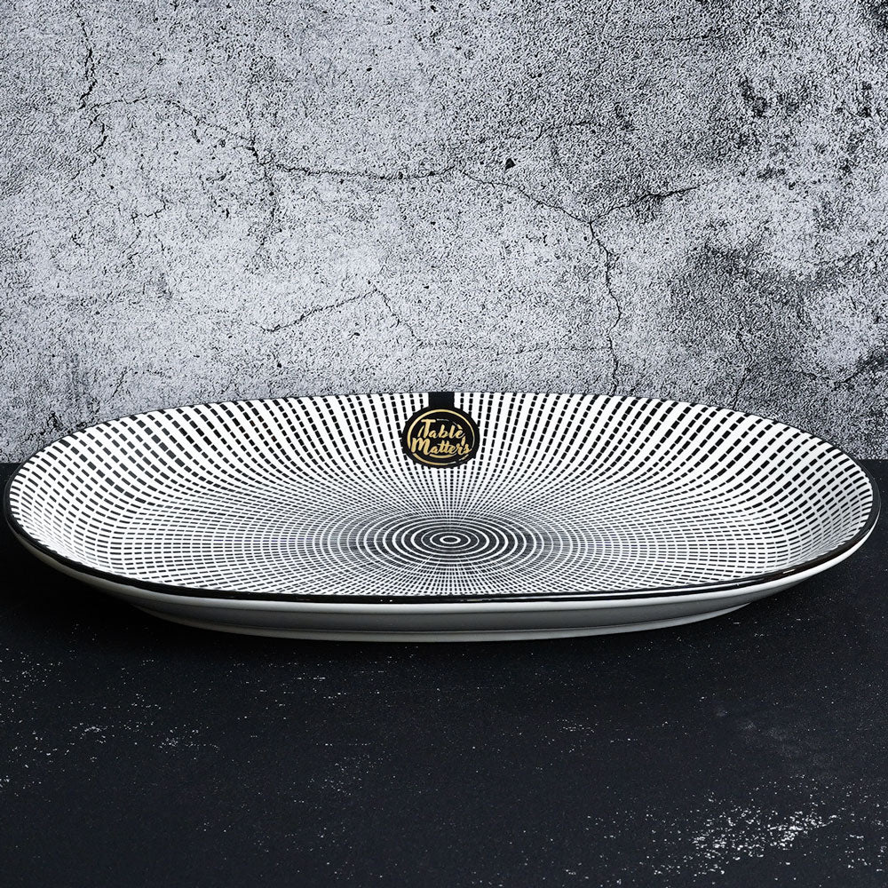 Scattered Lines - 12 inch Oval Shaped Plate - Table Matters