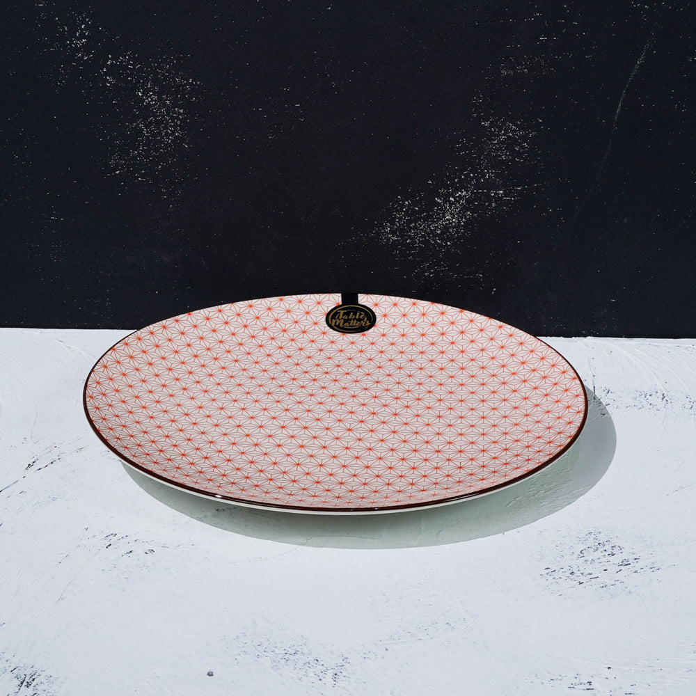 Starry Red - 6 inch Dessert Plate / 8 inch Rice Plate / 10.5 inch Dinner Plate