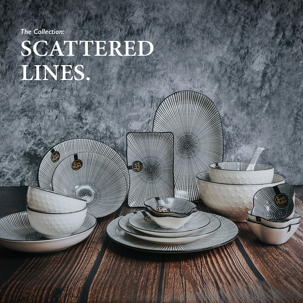 Scattered Lines - 12 inch Oval Shaped Plate