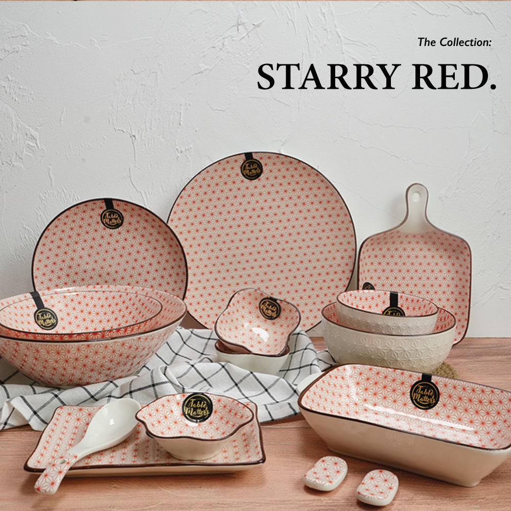 Starry Red - 8 inch Rectangular Ripple Plate