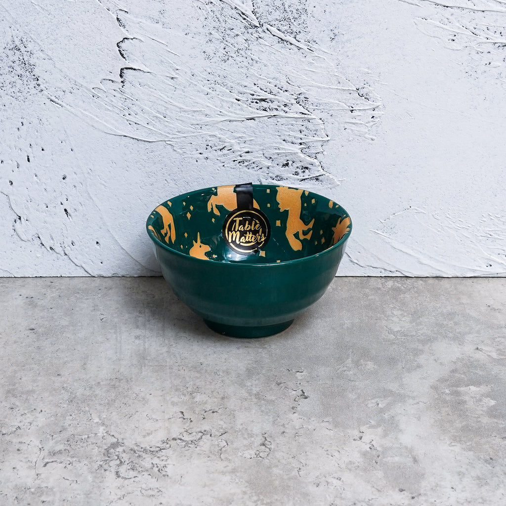 Unicorn Green - Hand Painted 4.5 inch Threaded Bowl - Table Matters