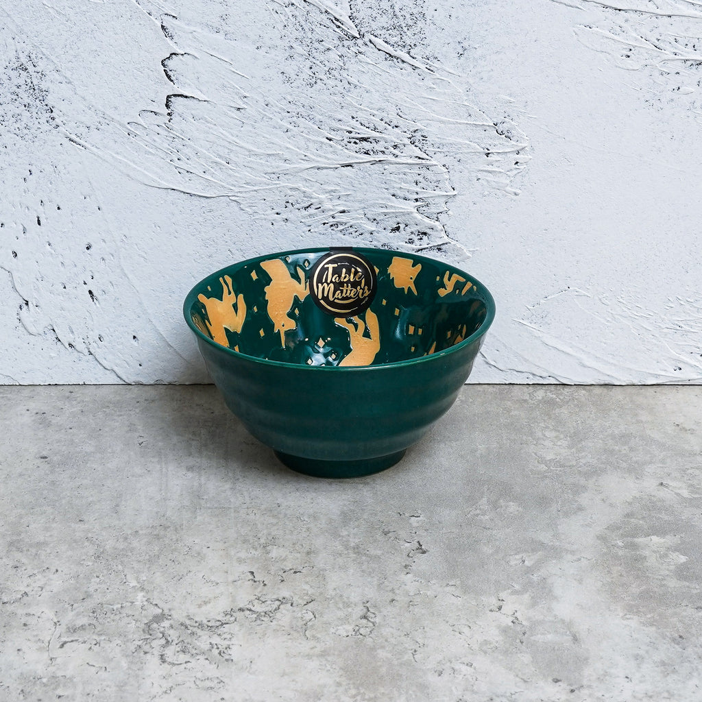 Unicorn Green - Hand Painted 5 inch Threaded Bowl - Table Matters