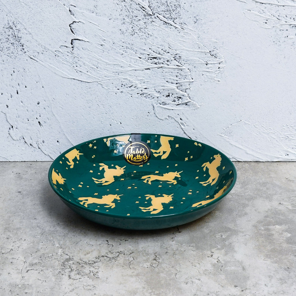 Unicorn Green - Hand Painted 7 inch Coupe Plate - Table Matters