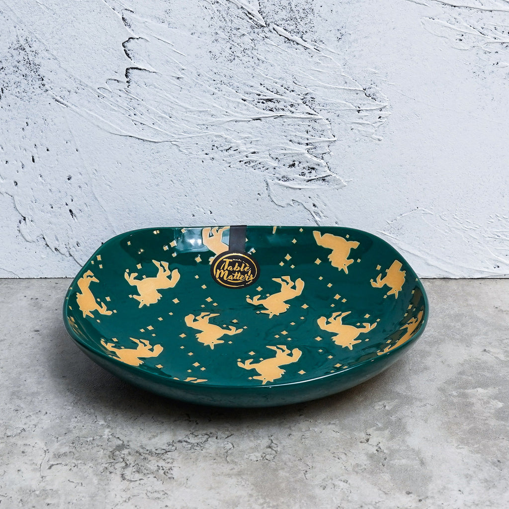 Unicorn Green - Hand Painted 8 inch Square Plate - Table Matters
