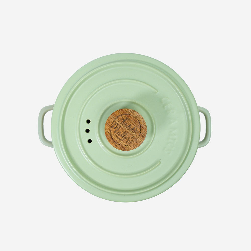 Vintage 3 in 1 Multi Tiered Ceramic Cook (Steam) Pot - Small (Pastel Green)