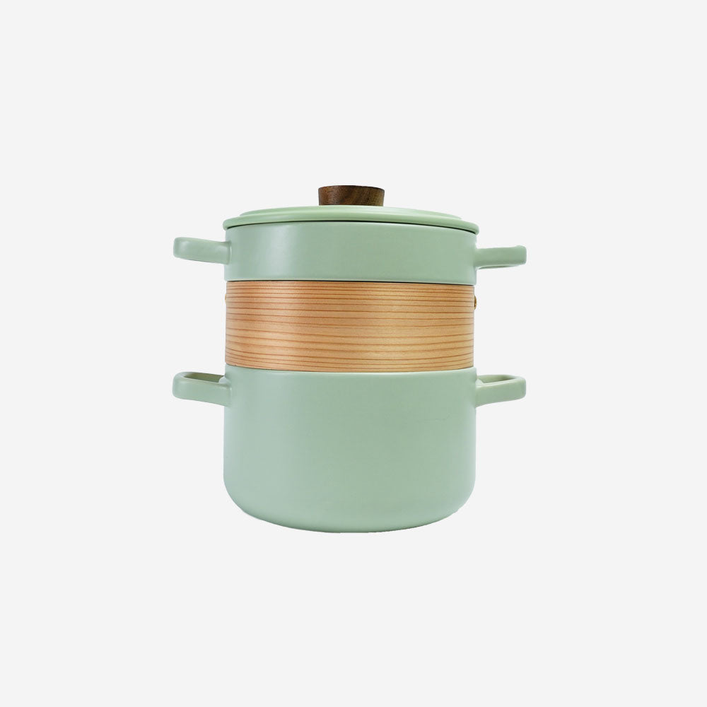 Vintage 3 in 1 Multi Tiered Ceramic Cook (Steam) Pot - Large (Pastel Green)