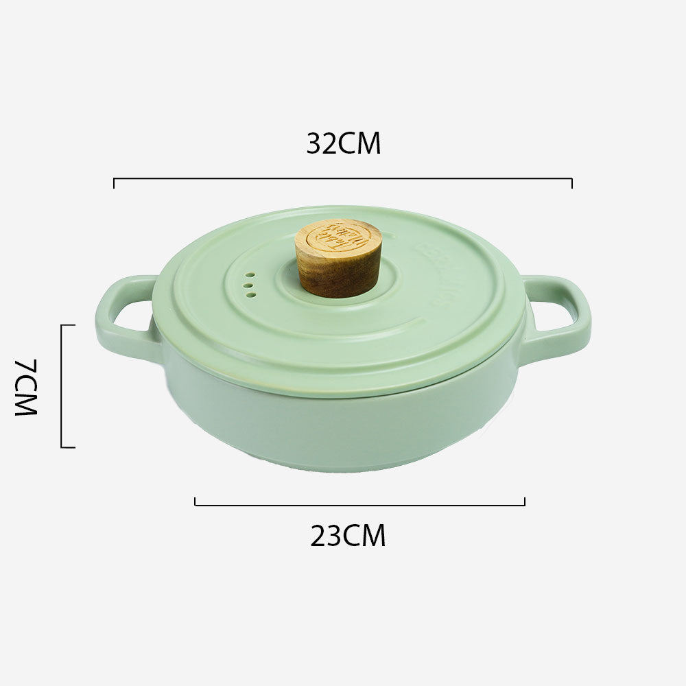 Vintage 2L Ceramic Cook Pot (Pastel Green)