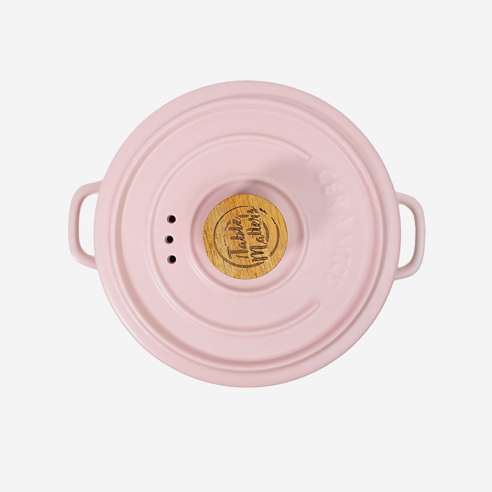Vintage 3 in 1 Multi Tiered Ceramic Cook (Steam) Pot - Large (Pastel Pink)