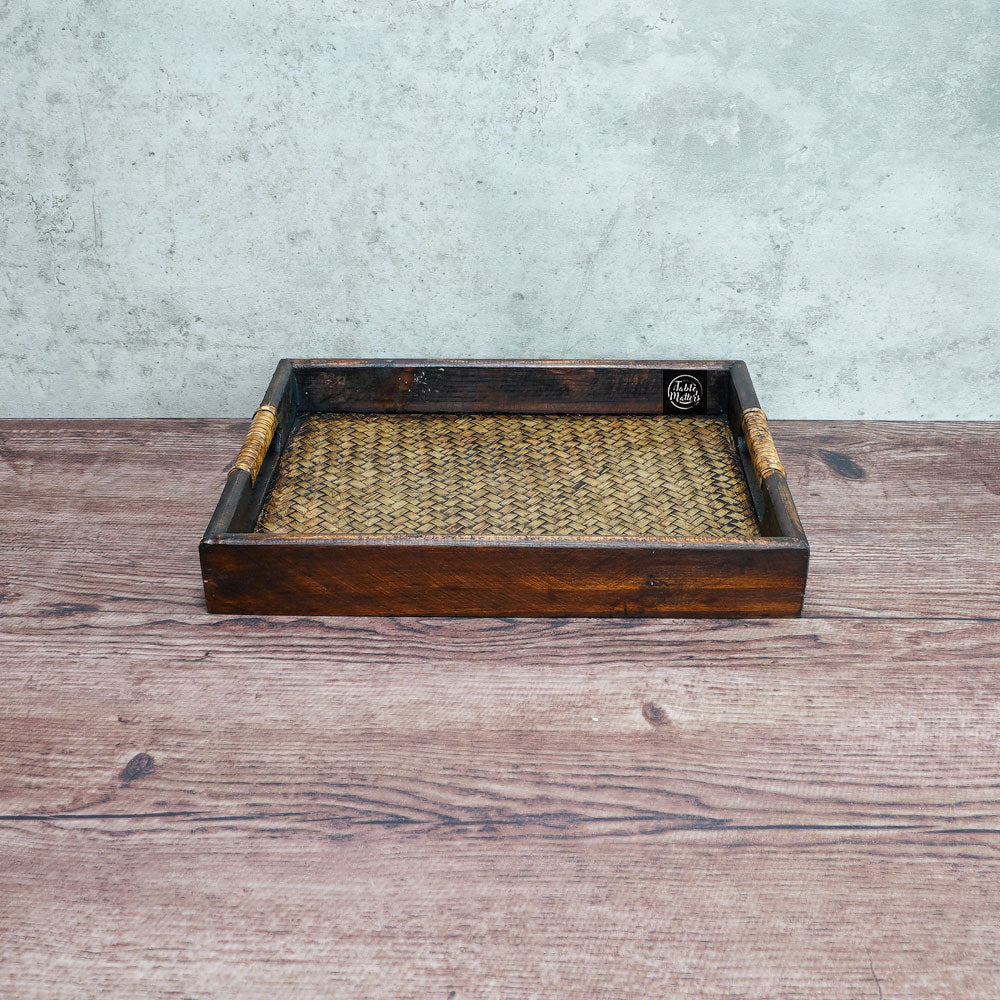 9 inch Wood Rattan Serving Tray