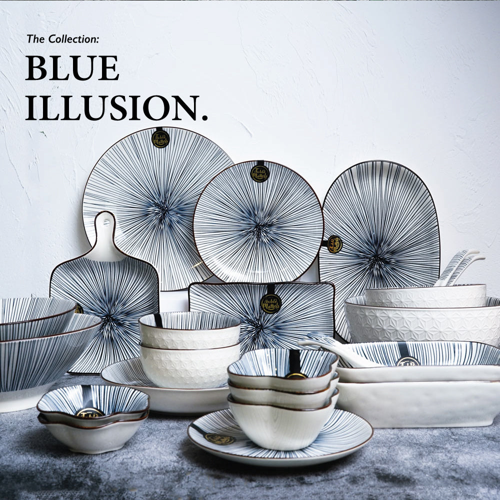 Blue Illusion - 6 inch Dessert Plate / 8 inch Rice Plate / 10.5 inch Dinner Plate