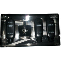 CARLO CORINTO - Carlo Noir Intense para hombre / SET - 100 ml Eau De Toilette Spray + 150 ml After Shave Balm + 150 ml Liquid Talc + 150 ml Body Shampoo