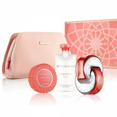 BVLGARI - Bvlgari Omnia Coral para mujer / SET - 65 ml Eau De Toilette Spray + 75 ml Body Lotion + 75 ml Jabón perfumado + Bolsa