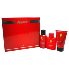 FERRARI - Ferrari Scuderia Red para hombre / SET - 125 ml Eau De Toilette Spray + 150 ml Hair and Body Wash + 150 ml Deodorant Spray
