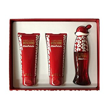MOSCHINO - Cheap & Chic Chic Petals para mujer / SET - 100 ml Eau De Toilette Spray + 100 ml Shower Gel + 100 ml Body Lotion