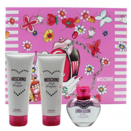 MOSCHINO - Pink Bouquet para mujer / SET - 100 ml Eau De Toilette Spray + 100 ml Shower Gel + 100 ml Body Lotion