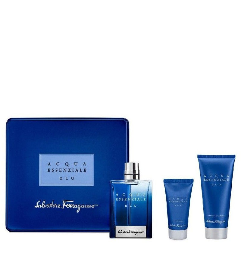 SALVATORE FERRAGAMO - Acqua Essenziale Blue para hombre / SET - 100 ml Eau De Toilette Spray + 100 ml Shower Gel + 100 ml After Shave Balm