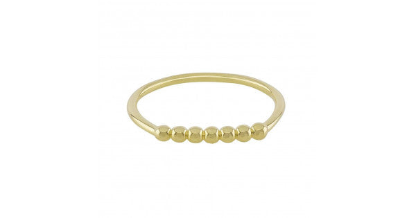 18K Yellow Gold Plated Silver Ring in Bead Design
