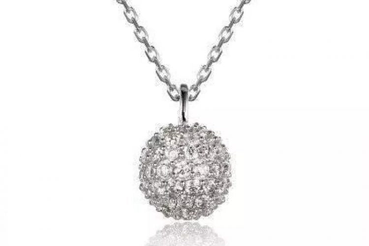 925 Silver American Diamond Studded Pendant with chain at Ornatejewels