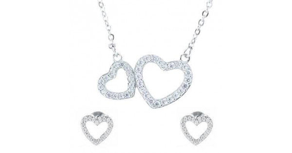 925 Silver Cubic Zirconia Double Heart Pendant and Earrings