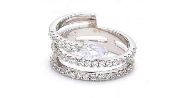 American Diamond Spiral Solitaire Band Ring