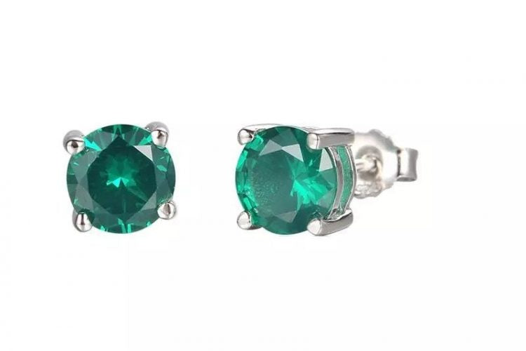 Created Emerald Solitaire Studs 925 Silver