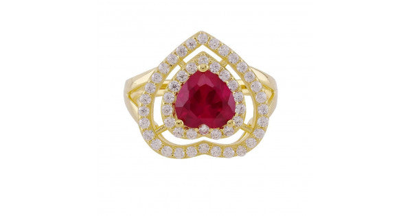 Gold Plated Silver Heart Ruby Ring
