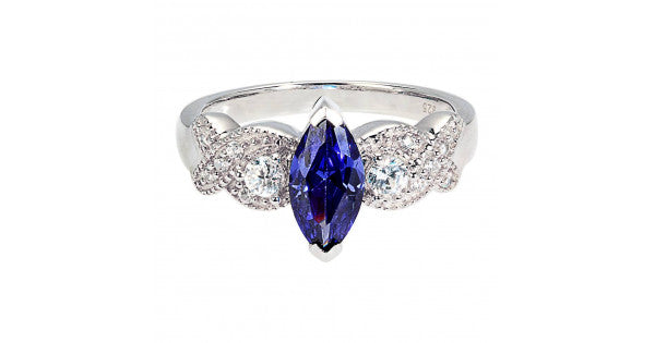 Gorgeous Marquise Sapphire Ring in 925 Silver