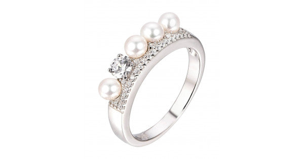 Pearl And Solitaire Band Ring In 925 Sterling Silver