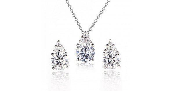Silver American Diamond Solitaire Pendant With A Trio of CZ And Earrings