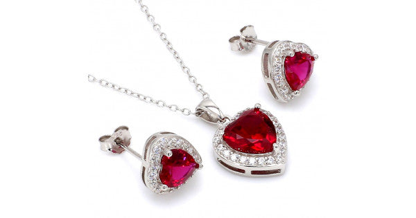 Silver Heart Shaped Ruby Pendant and Earrings