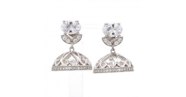 Solitaire Silver Jhumka Earrings