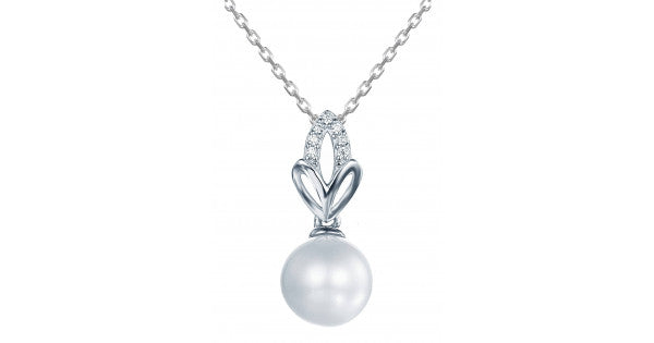 Three Leaf Design Pearl Pendant In 925 Sterling Silver