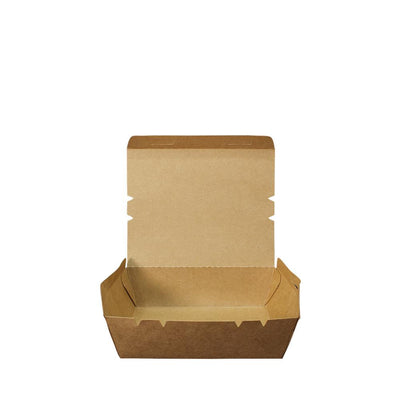 Paper Lunch Box Brown & White Kraft 1 Compartment - ($0.14/piece) - Laser Packaging Machine MFG Pte Ltd