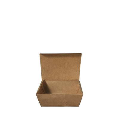 Paper Lunch Box Brown Kraft 1 Compartment 500ml - ($0.13/piece) - Laser Packaging Machine MFG Pte Ltd