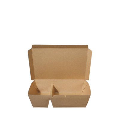 Paper Lunch Box Brown Kraft 2 Compartment 900ml - ($0.273/piece) - Laser Packaging Machine MFG Pte Ltd
