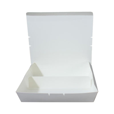 Paper Lunch Box White Tray 2 Fold Compartment - ($0.18/piece) - Laser Packaging Machine MFG Pte Ltd