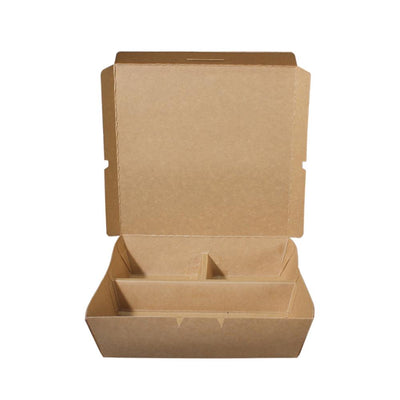 Paper Lunch Box Brown Kraft 3 Compartment 1200ml - ($0.28/piece) - Laser Packaging Machine MFG Pte Ltd