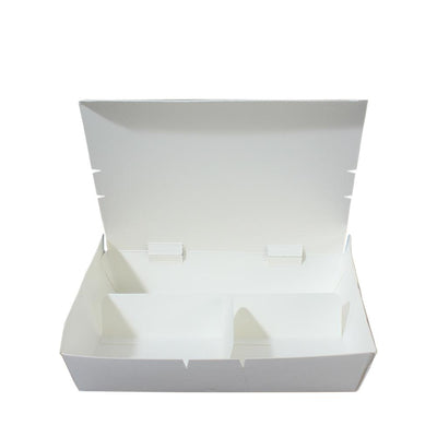 Paper Lunch Box White Tray 3 Fold Compartment - ($0.19/piece) - Laser Packaging Machine MFG Pte Ltd
