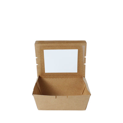 Paper Food Tray Brown Kraft 500ml with Window - ($0.15/piece) - Laser Packaging Machine MFG Pte Ltd