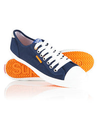 New Womens Superdry Navy Low Pro Sneaker Canvas Trainers Lace Up