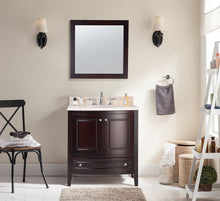 "Load image into Gallery viewer, LAVIVA Estella Collection 32"" Single Bath Vanity in Brown with Jerusalem Gold Marble Counter and 20"" Undermount Oval Porcelain Sink"