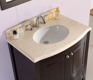"LAVIVA Estella Collection 32"" Single Bath Vanity in Brown with Jerusalem Gold Marble Counter and 20"" Undermount Oval Porcelain Sink"