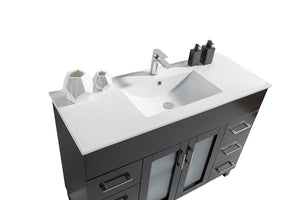 "LAVIVA Nova Collection 48"" Single Bath Vanity with Ceramic Basin Counter and Seamless 18"" Rectangular Sink"