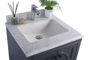 "LAVIVA Odyssey Collection 24"" Single Bath Vanity in Maple Grey and 20"" Undermount Rectangular Porcelain Sink"
