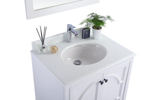 "LAVIVA Odyssey Collection 30"" Single Bath Vanity in White and 20"" Undermount Rectangular Porcelain Sink"