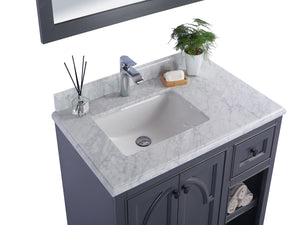"LAVIVA Odyssey Collection 36"" Single Bath Vanity in Maple Grey and 20"" Undermount Rectangular Porcelain Sink"