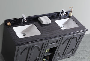 "LAVIVA Odyssey Collection 60"" Double Bath Vanity in Maple Grey and Two 20"" Undermount Rectangular Porcelain Sink"
