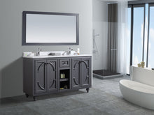 "Load image into Gallery viewer, LAVIVA Odyssey Collection 60"" Double Bath Vanity in Maple Grey and Two 20"" Undermount Rectangular Porcelain Sink"