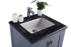 "LAVIVA Wilson Collection 24"" Single Bath Vanity in Grey and 20"" Undermount Rectangular Porcelain Sink"